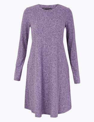 Marks and Spencer Floral Ribbed Swing Dress