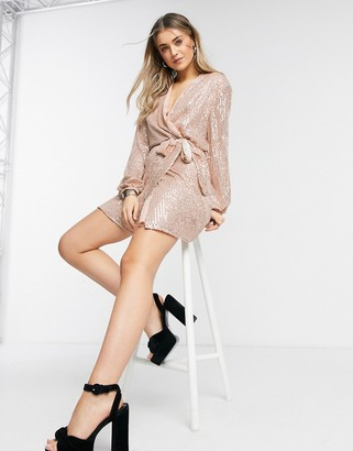 Style Cheat sequin wrap tie mini dress with balloon sleeves in rose gold