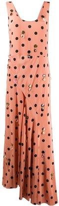 Tory Burch Jewel-Embroidered Polka-Dot Dress