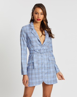 Missguided Buckle Belted Check Blazer Dress