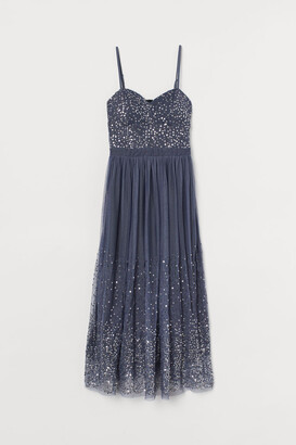 H&M Sequined Mesh Dress - Blue