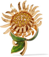 Dolce & Gabbana Gold-tone, Crystal And Enamel Brooch - one size
