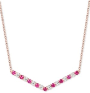 "Macy's Certified Ruby (5/8 ct. t.w.) & Diamond (1/20 ct. t.w.) Chevron 16"" Statement Necklace in 14k Rose Gold-Plated Sterling Silver"