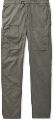 Brunello Cucinelli Stretch-Cotton Twill Cargo Trousers - Men - Green