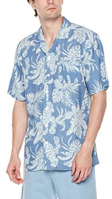 Isle Bay Linens Men's Relaxed-Fit Short Sleeve Vintage Linen Blend Cotton Casual Hawaiian Shirt