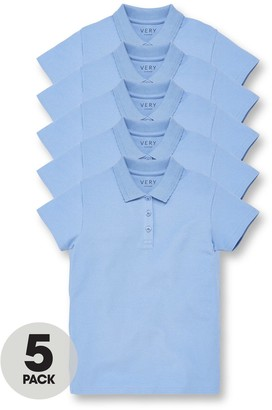 Very Girls 5 Pack School Polo Tops - Blue