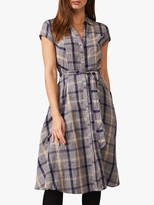 Phase Eight Willa Check Linen Dress, Navy/Stone
