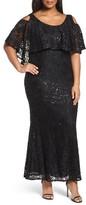 Marina Plus Size Women's Sequin Lace Cold Shoulder Long Dress