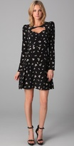 Ghost Flower Print Ruffle Dress