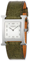 Hermes Heure H MM Watch with Green Ostrich Leather Strap