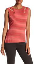 Max Studio Striped Cutout Knit Tank Top
