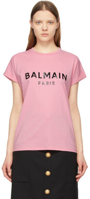 Balmain Pink Logo T-Shirt