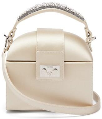 Rodo Trunk Crystal-embellished Satin Bag - Womens - Light Grey