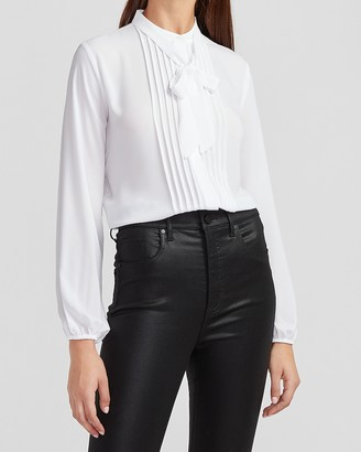 Express Pleated Tie Neck Portofino Shirt