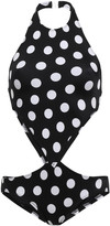 Thumbnail for your product : Norma Kamali Cutout Polka-dot Swimsuit