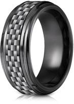 Ice Black Titanium 7mm Comfort-Fit Beveled Edge Pattern Design Ring