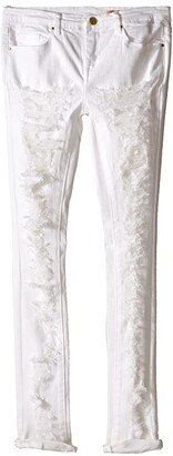 Blank NYC Kids Ripped Skinny Jeans in White Lines (Big Kids) (White) Girl's Jeans