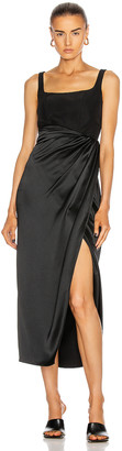 Brandon Maxwell Satin Bustier Cocktail Dress With Wrap Skirt in Black | FWRD