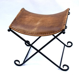 Gecco Deco Leather And Iron Folding Stool