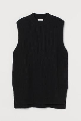 H&M Rib-knit Sweater Vest - Black