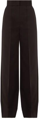 Sara Battaglia High-rise Satin Trousers - Black