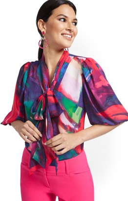 New York & Co. Abstract Watercolor Print Essential V-Neck Bow Blouse