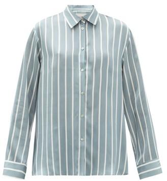 ASCENO London Striped Sandwashed-silk Pyjama Top - Blue Stripe