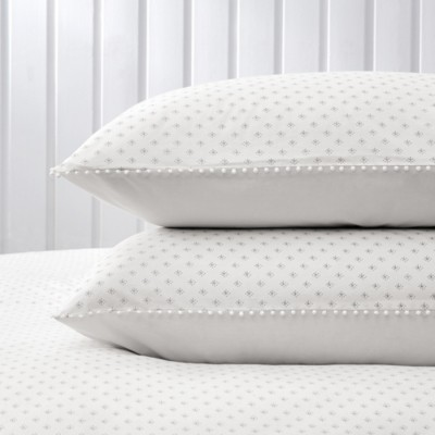 The White Company Avignon Print Classic Pillowcase - Single , White Grey, Super King