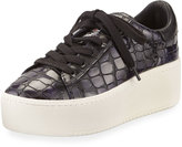 Ash Cult Crocodile-Embossed Platform Sneaker, Indigo/Black