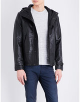Sandro Neptune hooded leather jacket