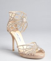 Jimmy Choo taupe shimmer suede crystal embellished cutout 'Dina' sandals