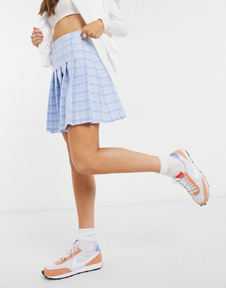 New Look mini pleated tennis skirt in pastel blue check