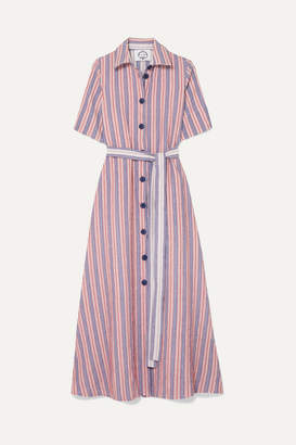 Evi Grintela Valerie Belted Striped Linen And Cotton-blend Midi Dress - Red