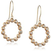 Cherry Brown 10 ct Yellow Gold Rosecut Diamond Open Circle Drop Earrings