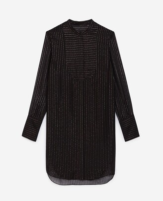 The Kooples Short black striped shirt dress