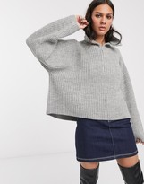 Weekday Alissa zip detail roll neck sweater in gray melange