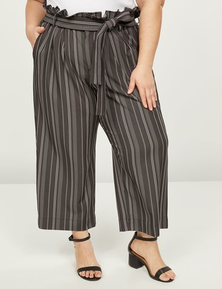 Lane Bryant Soft Ankle Pant With Belt - Striped
