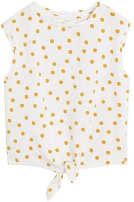 MANGO Girls Spot Tie Waist Tshirt - White/mustard
