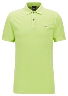 HUGO BOSS Slim-fit polo shirt in washed cotton pique