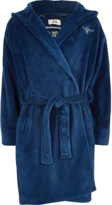 River Island Boys Blue RI logo dressing gown