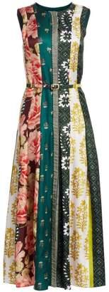 Oscar de la Renta Floral Stripe Silk Midi Dress