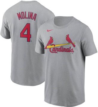 Nike Men's Yadier Molina Gray St. Louis Cardinals Name & Number T-Shirt