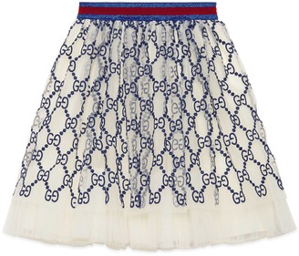 Gucci Children's GG embroidered tulle skirt