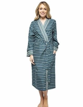 Cyberjammies Elena 4571 Women's Teal Blue Geometric Print Long Robe 14