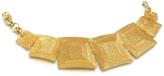 Stefano Patriarchi Golden Silver Etched Square Link Bracelet