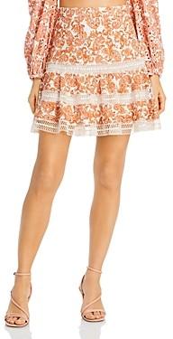 Bardot Embroidered Eyelet Paisley Mini Skirt