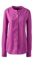 Classic Women's Petite Roll Sleeve Crepe Blouse-Foxglove Pink