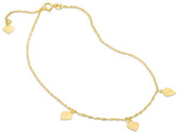 Zales Diamond-Cut Triple Heart Dangle Station Anklet in 10K Gold - 10""