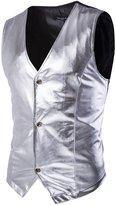 Mada Men's Stylish Metallic Tuxedo Vest Asian Medium