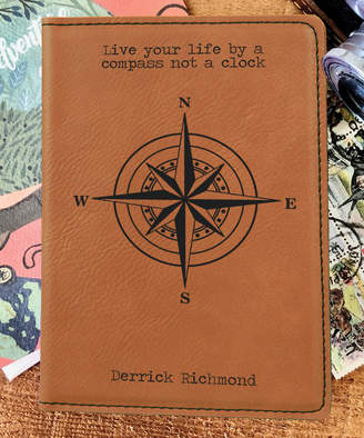 Stamp Out Online Passport Holders rawhide - Brown 'Life By a Compass' Personalized Passport Cover